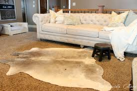 interior nice living room decorating ideas with cowhide rugs on
