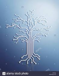 digital tree made of electronic circuits conceptual illustration