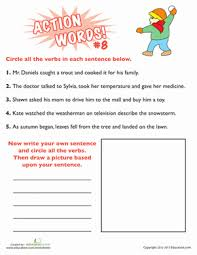 identifying action words 2nd grade verb practice education com
