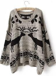 grey batwing sleeve deer print sweater shein sheinside