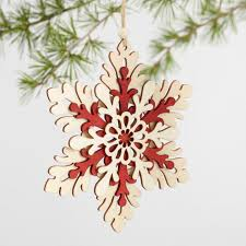 and wood snowflake ornaments set of 3 world market