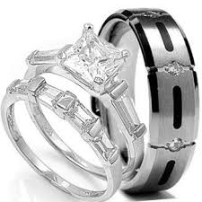 titanium wedding ring sets for him and wedding ring set his hers 3 pieces stainless steel titanium