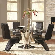 Coaster Barzini  Piece Round Dining Table And Black Leatherette - Value city furniture dining room