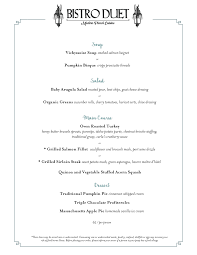 thanksgiving day menus thanksgiving menu bistro duet