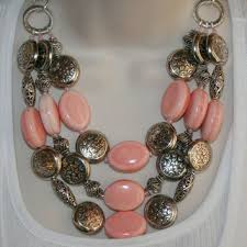 large silver beads necklace images Best peach chunky necklace products on wanelo jpg