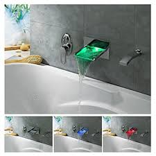 Tub Faucet Hand Shower Led Wall Mount Waterfall Tub Faucet With Pull Out Hand Shower