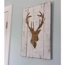 white distressed deer silhouette wood sign home
