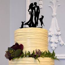 wedding cake topper 1 dog u00261 cat happy family bride groom pets