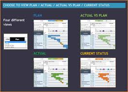 excel template planner gantt chart maker excel template gantt chart maker excel template 4 views plan actual actual vs plan