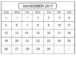 november 2017 calendar template pdf word excel format free
