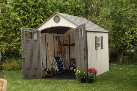 modern outdoor design with lawn mower storage sheds color ideas