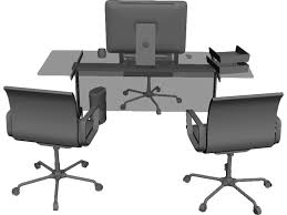 Black Desk And Chair Office Desk And Chairs 3d Model 3d Cad Browser