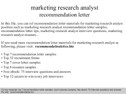 Market Research Analyst Resume Sample by Marketing Research Analyst Recommendation Letter