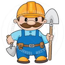 cartoon construction worker builder with a shovel by polkan toon