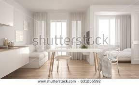 Modern Minimalist Kitchen Interior Design Modern Minimal Kitchen Living Room Bedroom Stock Illustration