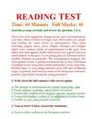reading test and answering questions