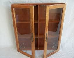 Wall Display Cabinet With Glass Doors Vintage Wooden Wood Wall Display Cabinet Apothecary Spice Rack