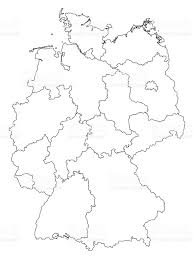 Europe Outline Map by Germany Outline Map With Federal States Isolated On White