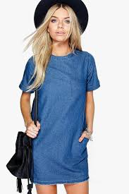lois slouch pocket denim dress boohoo