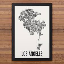 Neighborhood Map Los Angeles Neighborhood Typography City Map Print