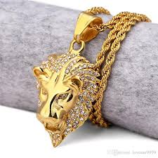 animal gold necklace images Wholesale hiphop 18k gold plated iced out the kings of animal lion jpg