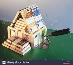 Euro House Icon Building Cost Bank Notes Object Photography Still Life