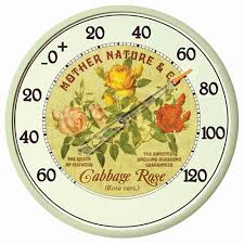 acurite 12 5 in cabbage rose analog thermometer 01836 the home