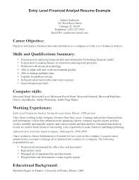 free exle of resume free exle of resume sle resume for financial analyst entry