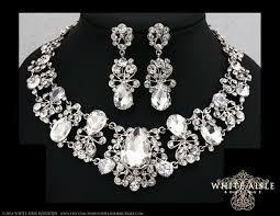 bridal necklace earring images Bridal jewelry set crystal statement necklace earrings vintage jpg