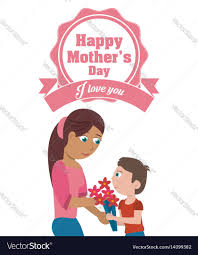 happy mothers day card i love you mom and son vector image