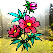 Stained Glass Window Decals 24 95 Peony Flower Suncatcher Window Sticker Decal Stained Glass