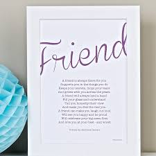 poems to ask bridesmaids friend personalised print with friendship poem by bespoke verse