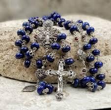 sacred heart rosary sterling silver sacred heart heirloom lapis lazuli rosary