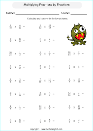printable math worksheets fractions multiply fractions fractions and give your answer in the lowest