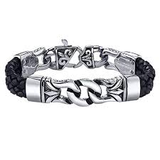 cross bracelet leather images Coolman black stainless steel braided leather bracelet jpg