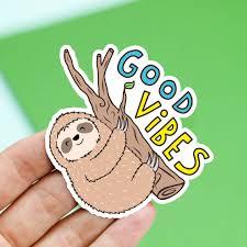 sloth sticker vinyl stickers good vibes stocking stuffer
