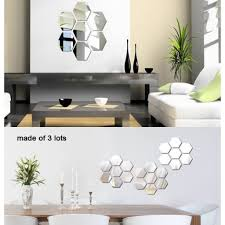 7pcs diy 3d hexagon wall mirror stickers art decals wall mirror stickers art decals zoom