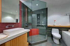 imaginative modern shower designs with gray and red wall mounted