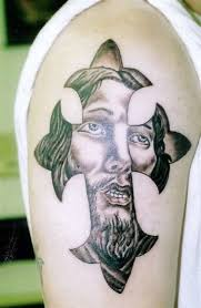 brilliant christian jesus face tattoo design for men