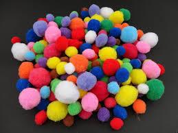 50 craft poms multi coloured fluffy balls various sizes children