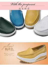Platform Heels Comfort Genuine Leather Boat Shoes Comfort Nurse Shoes Wedges Breathable
