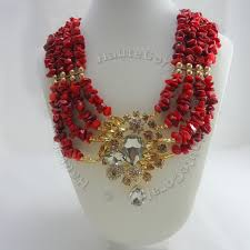 red crystal bead necklace images Adaeze red coral and gold rhinestone statement necklace jpg