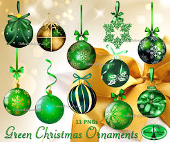 15 Day Sale Ends 11 25 Green Christmas Clipart Ornaments Digital