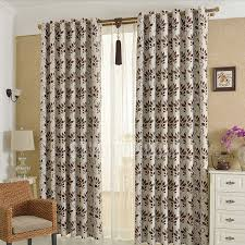 Leaf Pattern Curtains Country Style Coffee Leaf Pattern Polyester Cheap Blackout Curtains
