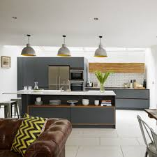kitchen dining ideas open plan kitchen with grey units and leather sofa dining li open