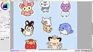 pokemon stickers speedpaint paint tool sai youtube