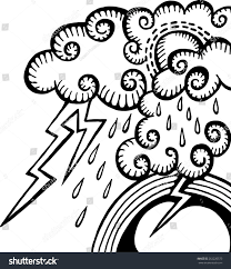 Hand Sketched Drawing Rain Clouds Lightning Stock Illustration