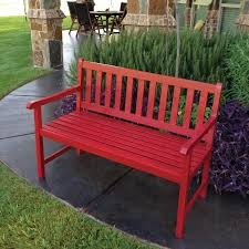 Wooden Patio Bench by Blazing Needles 45 X 18 In Outdoor Bench Cushion Hayneedle