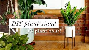diy mid century modern plant stand u0026 plant tour youtube