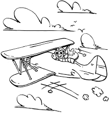 happy pilot in old airplane coloring page happy pilot in old